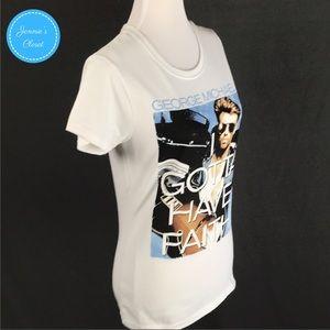 Juniors SZ M Gray George Michael We Gotta Have Faith T-Shirt~